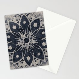 Mandala, Flower, Indigo Blue, Boho Art Stationery Cards