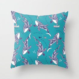 Kiss Good Night - Orca I Throw Pillow