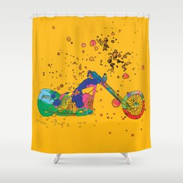 ap127-8 Motorcycle Shower Curtain