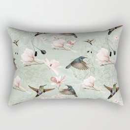 Vintage Watercolor hummingbird and Magnolia Flowers on mint Background Rectangular Pillow