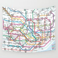 subway Wall Tapestries featuring Tokyo Subway Map by Dizzy Moments