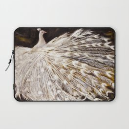 White Peacock Oil Painting Laptop Sleeve