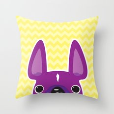 Purple Chevron Frenchie Throw Pillow