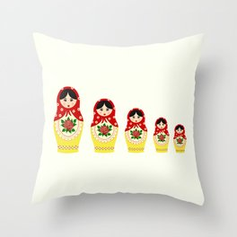 Red russian matryoshka nesting dolls Throw Pillow