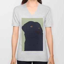 Black Labrador Retriever With Sad Eyes Unisex V-Neck