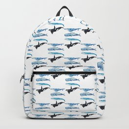 Set of 4 whale watercolor painting print art Backpack