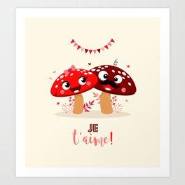Couple de champignons Art Print