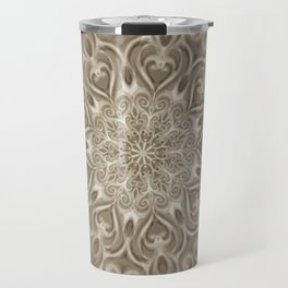 Beige swirl mandala Travel Mug