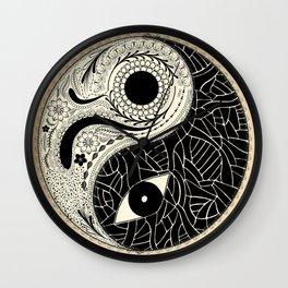 - yin & yang - [collaborative art with famenxt] Wall Clock
