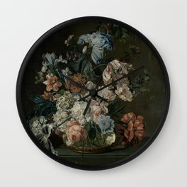 Cornelia Van Der Mijn - Still Life With Flowers Wall Clock