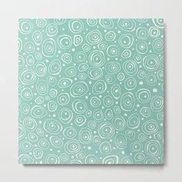 White and Aqua Circle Abstract Metal Print