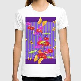 GOLDEN BUTTERFLIES &  RED FLOWER GARDEN T-shirt