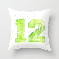 seahawks Throw Pillows featuring 12th Man Seattle Art by Olechka