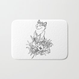 Flower Cat Bath Mat