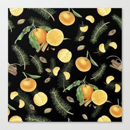 Tangerines and spices on black background Canvas Print