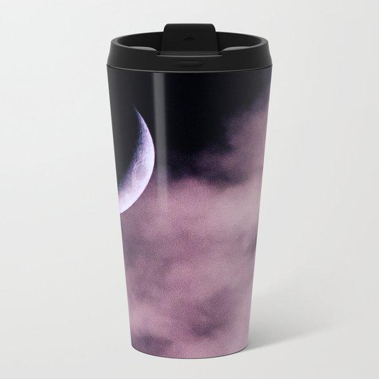 Crescent Moon On A Fluffy Pillow Metal Travel Mug