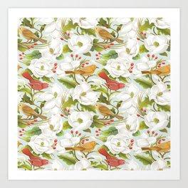 Magnolia/ Birds Art Print