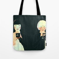 atlas Tote Bags featuring CLOUD ATLAS by Itxaso Beistegui Illustrations