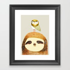 Sloth and Owl. Framed Art Print