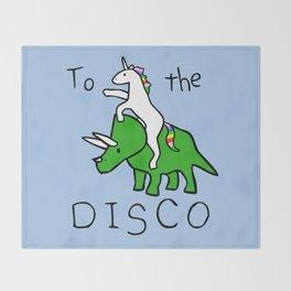 To The Disco (Unicorn Riding Triceratops) Throw Blanket