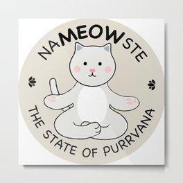 Yoga Cat Namaste Metal Print