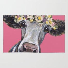 Cute Cow Art, Colorful Flower Crown Art. Rug