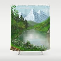 river Shower Curtains featuring River by Turul