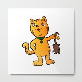 cartoon cat with mouse Metal Print