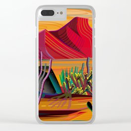 Cactus Garden Sunset Square Clear iPhone Case