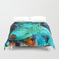 pig Duvet Covers featuring Pig by Silke Powers
