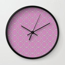 Violet Purple Quatrefoil Pattern Wall Clock