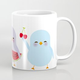 Kawaii blue green orange pink yellow chick with pink cheeks and winking eyes, pastel colors Coffee Mug
