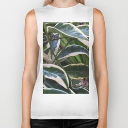 Green and white leaves Biker Tank