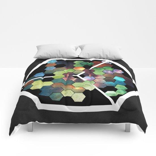 Abstract Geometric  Galaxy Study Comforters
