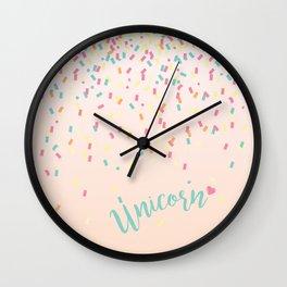 Unicorn and confetti love Wall Clock