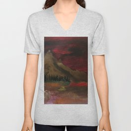 Red clouded sky Unisex V-Neck