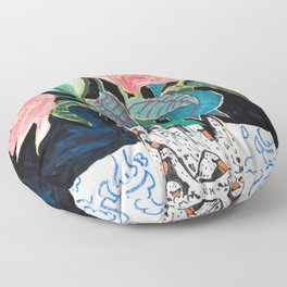 Swan Vase with Pink Lily Flower Bouquet on Dark Blue and Black Winter Floral Floor Pillow