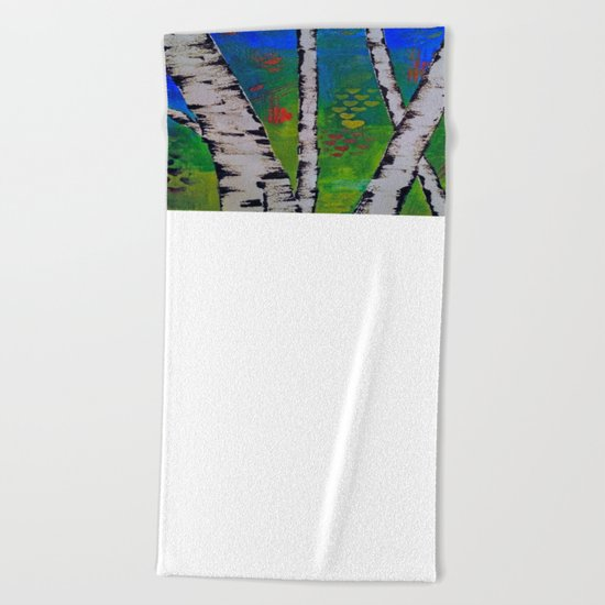 Blue Birch Beach Towel