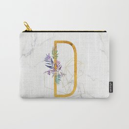Modern glamorous personalized gold initial letter D, Custom initial name monogram gold alphabet prin Carry-All Pouch