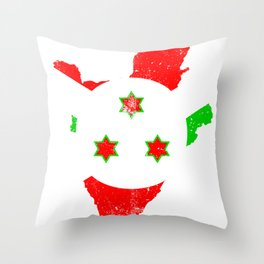 Distressed Burundi Map Throw Pillow