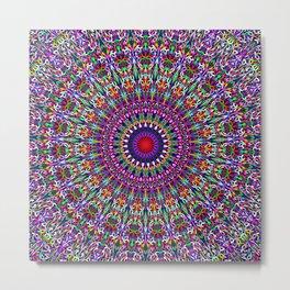 Vivid Lace Ornament Mandala Metal Print