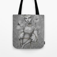 raven Tote Bags featuring Raven by Zan Von Zed