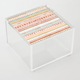 Boho Stripes - Watercolour pattern in rusts, turquoise & mustard. Nursery print Acrylic Box