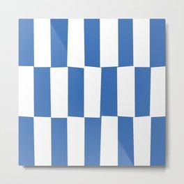 Modern royal blue and white trendy checker pattern Metal Print