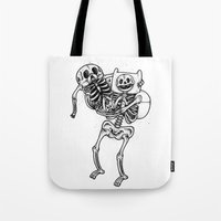 finn and jake Tote Bags featuring Finn & Jake Bones by Will Blood