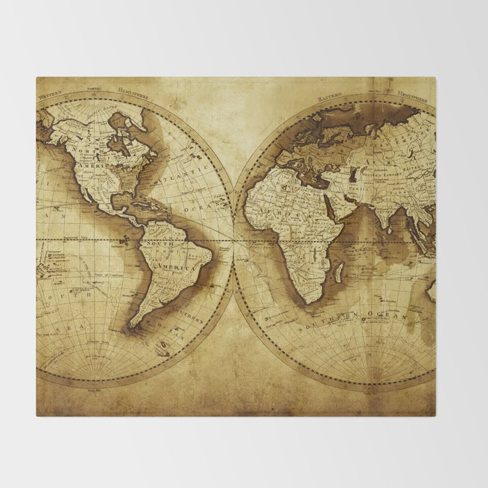 Antique Map of the World Throw Blanket