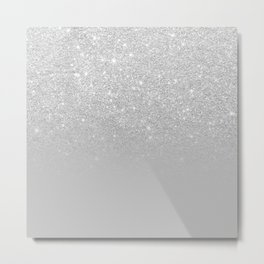 Trendy modern silver ombre grey color block Metal Print