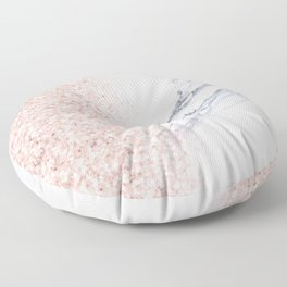 Rose Gold Pink Glitter White Gray Marble Luxury II Floor Pillow