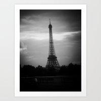 dark tower Art Prints featuring Eiffel Tower After Dark by Christine Workman