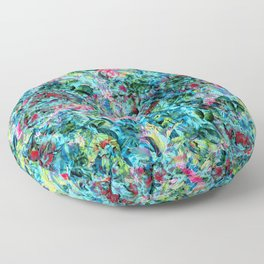 Abstract Floral Chaos Floor Pillow